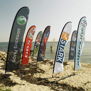 Beachflag og strandflag med logo tryk