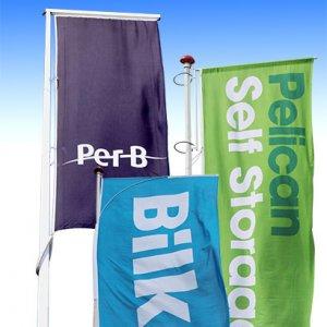 Flagextender 3 versioner af reklameflag med logo tryk