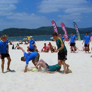 Beachflag, strandflag, flag på stang