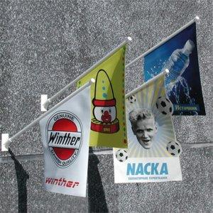 Dobbeltsidede kiosk flag, udhængsflag, facadeflag