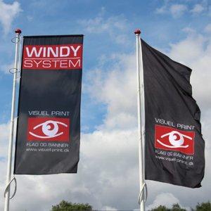 Reklameflag med logo tryk altid udspændt med WINDY systemet